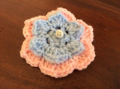 2 layer beaded PINK & BLUE CROCHET FLOWER 8cm  - embellishments appliques
