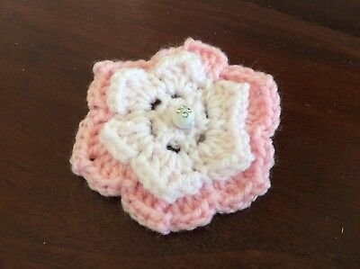 2 layer beaded PINK ON PINK CROCHET FLOWER 8cm  - embellishments appliques