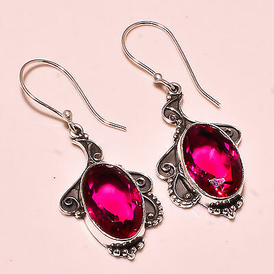 """Rubellite Tourmaline 925 Solid Sterling Silver Earrings 2.00""""   Md3460"""