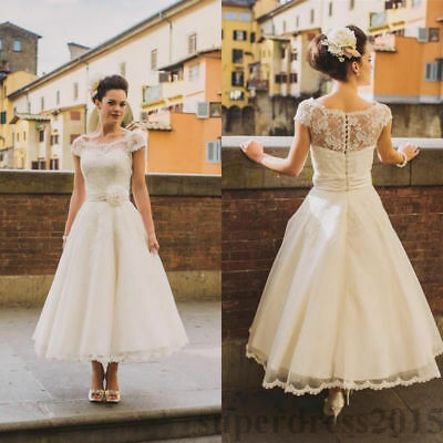 VINTAGE COUNTRY LACE Wedding Dress Cap Sleeve Scoop Neck Court Train ...