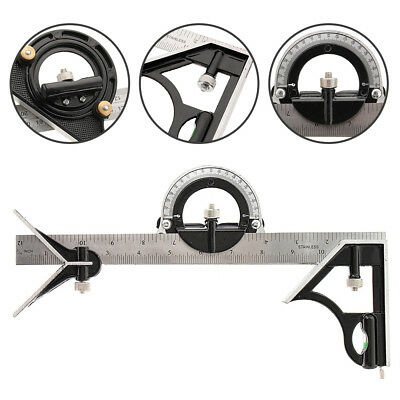 Practical 300mm Adjustable Engineers Combination Square Set Right Angle Ruler AU