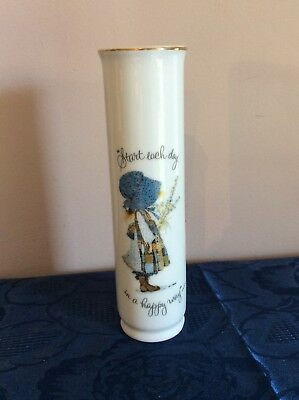 "Vintage Holly Hobbie Tall Cylindric Vase ""Start Each Day"" Quote Porcelain Japan"
