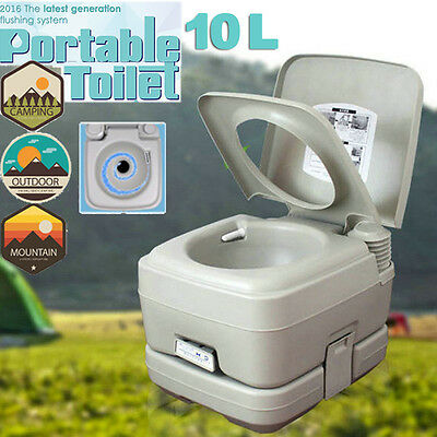 2.8 Gallon 10L Portable Toilet Camping Outdoor/Indoor Commode Flush Potty Hot