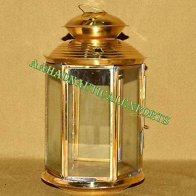Nice Brass Clear Glass Lantern Lamp Candle Cover Gift Kl