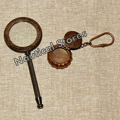 Solid Brass Magnifying Glass Antique Vintage Nautical Table Top Item Decor