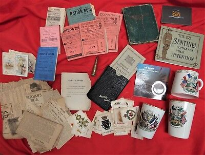 Ww1 & Ww2 British Army Patriotic Cups, Ration Books, Coin, Medal Silks & Cards