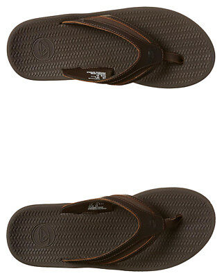 New Reef Men's Flex Leather Thong Rubber Soft Brown