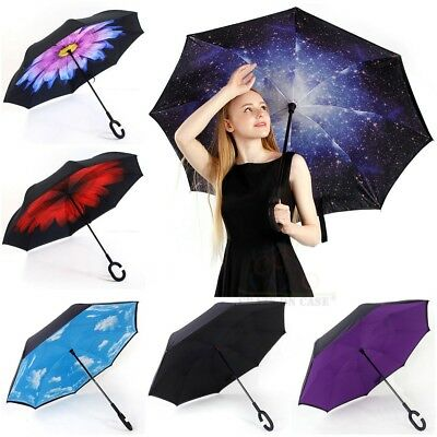 Windproof Upside Down Travel Umbrella C-Handle Double Layer Inside-Out Inverted