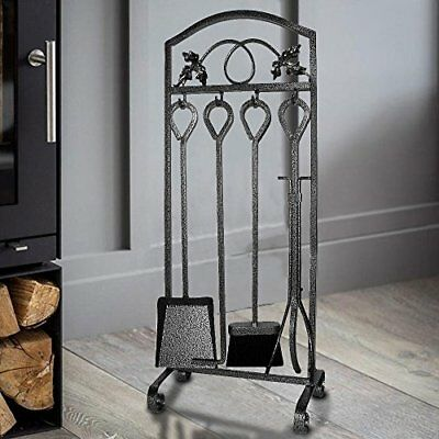 5 Pieces Fireplace Tools Sets Leaf Design Pewter Wrought Iron Fire Place Tool