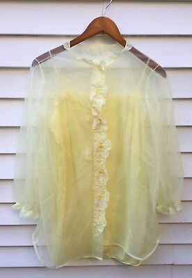 Vintage 60s Womens Yellow Nylon Set Baby Doll Slip Nightgown Button Jacket Large