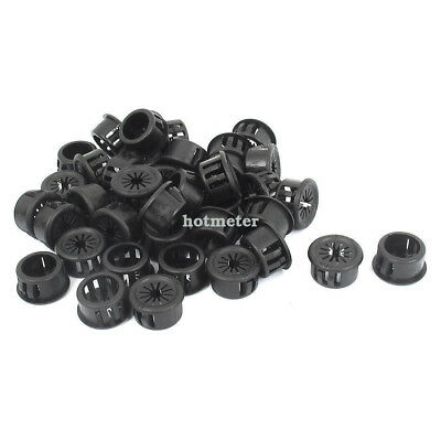 40Pcs 16mm Mounting Hole Black Plastic Snap Cable Hose Bushing Protector Grommet