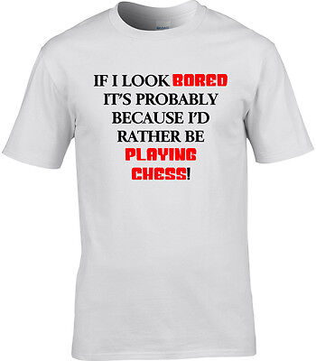 Chess Mens T-Shirt I'd Rather Be Funny Gift Idea Playing Board Game Cool Book