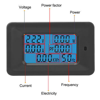 Digital Voltage Meter 110V-250V Current 20/100A Power Factor KWH Frequency DH