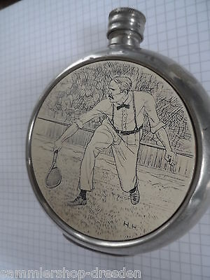 19322 Flachmann Zinn gepunzt Sheffield British Pewter Tennis Scrimshaw hip flask