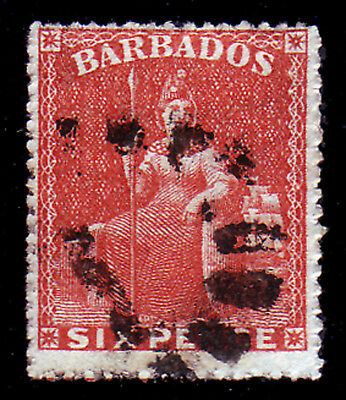 BARBADOS. SG 33, 6d ORANGE. FINE USED.