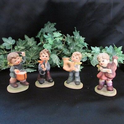 set of 4  Vintage 1960's Napcoware Japan Figurines Kids in a band C 7654
