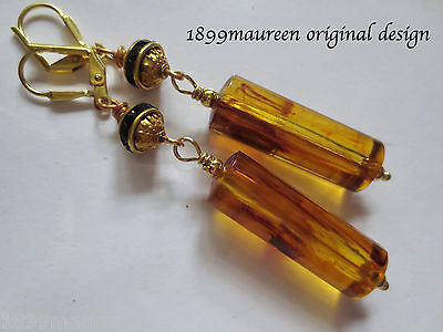 Art Nouveau Art Deco earrings 1920s geometric vintage style amber lucite drops