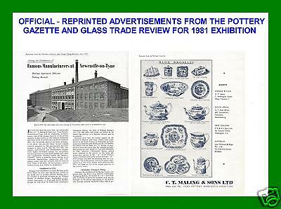 2 Maling Pottery Gazette Adverts - Superb Blue Broseley - Used At 81 Exhibition