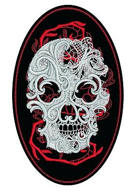 """4"""" High Faux Leather Embroidered Patch with Ghost Skull Motif/Badge Biker Triker"""