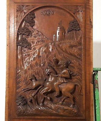 Carved Wood Panel Antique French Chateau Rider Hunting Scene Carving Sculpture