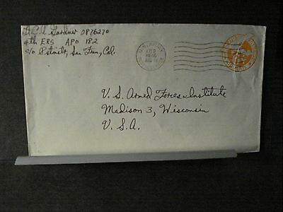 APO 182 GUAM, MARIANAS ISLANDS Army Postal History Cover 1946 4th ERS