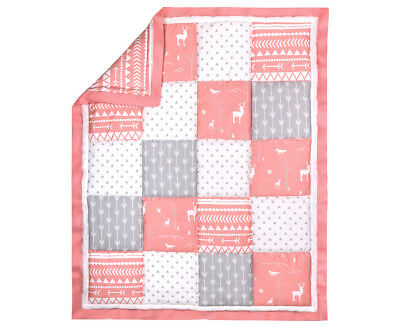 Peanut Shell Woodland Patch Cot Quilt - Grey/Coral/White