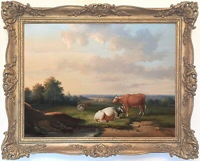 Cattle in a Landscape Antique Oil Painting Early 20th Century European School