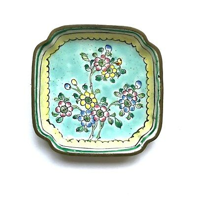 Vintage Trinket Dish Metal Hand Painted Enameled Chinese Tray Floral Multi Color