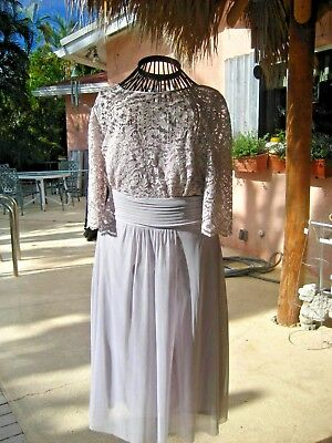 Beautiful Mother of the Bride Groom Dress, Grey Lace and English Net - size 12p