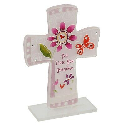 Grandma sentiment glass cross 'God bless you Grandma'