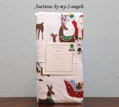 NEW Pottery Barn Kids Christmas JOLLY SANTA Organic Flannel Crib Fitted Sheet!