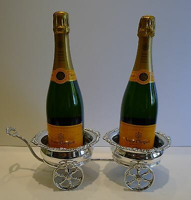 Antique Silver Plated Double Wine / Champagne Coaster Cart by Maple, London
