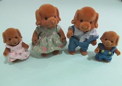 Sylvanian Vintage Forest Families Wuffi Dog Family  - 1980's