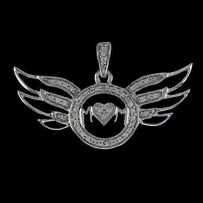 Cubic Zirconia Heart Love Angel Wing Mom Pendant 14K White Gold Over Sterling
