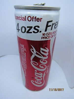 "Old Coca Cola Can ""4 Oz. Free 16 Oz. For Price Of 12 Ozs"" Chicago"