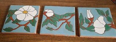 Vintage Art Nouveau Style Raised Relief White Flowers / Ivy Vines Ceramic Tiles