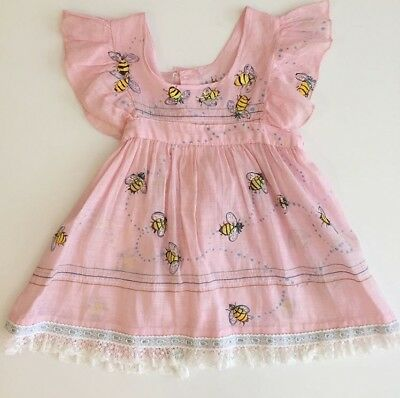 Pink Semi Sheer Hand Painted Bee Pinafore Christmas Gift 12 18 Party Dress