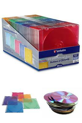 Assorted Colors Verbatim 50-Ct Slim DVD Storage Cases Plastic Jewel CD Disk Case