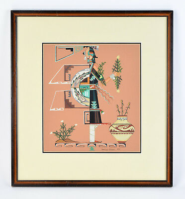 Original 1984 Geraldine Gutierrez Painting San Ildefonso Native American Indian