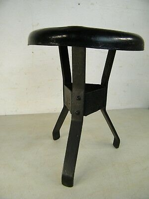 Antique Wrought Iron All Metal Steampunk Small Milking Farm Stool Plant Stand