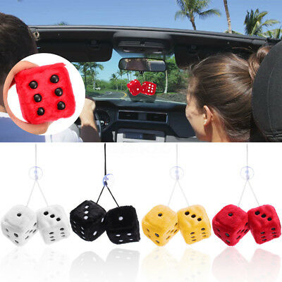 2.8'' 7cm 4 Colors Fuzzy Dice Car Mirror Hanging String Cute Dots Pendant