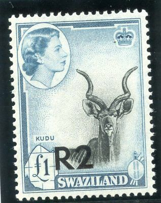 Swaziland 1961 QEII 2r on £1 black & turquoise-blue Type I MNH. SG 77. Sc 79a.