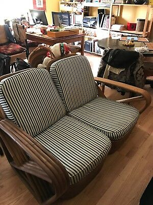 Vintage/Mid-century Bamboo 3 piece couch, loose slipcover cushions, teal stripes