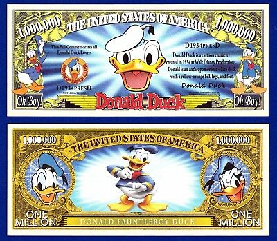 1-Disney  Donald Duck  Cartoon Dollar Bill Novelty -Collectible-MONEY -D3