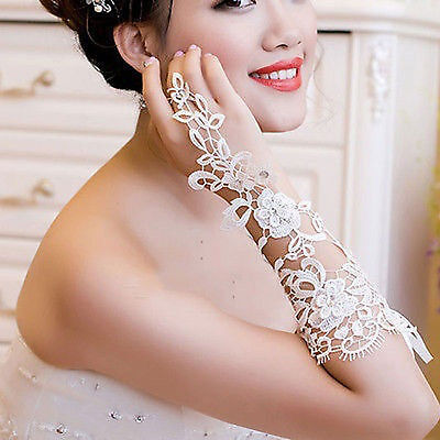 White Bridal Wedding Lace Fingerless Gloves Elbow Length Rhinestone Accents