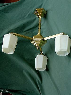 Antique Mission, Arts & Crafts Chandelier Living, Dining, 6 Side Frosted Shades.