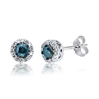 0.25 Ct Natural Diamond Halo Stud Earrings 14K Gold Over 925 Sterling Silver