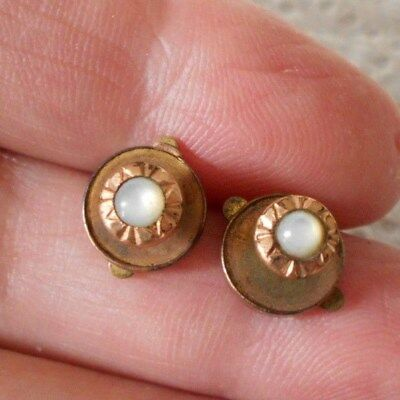 Antique/vintage Pair Of Tiny Button Studs With Moonstones Pat. 1879 #70