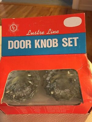 Crystal Glass Door Knob SET New in Box LUSTRE LINE 3030 Glass Brass Plated