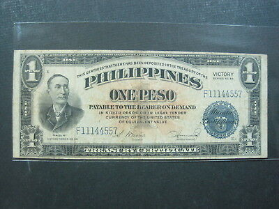 Philippines 1 Peso 1944 P94 #k Victory 66 Usa Silver Coin Banknote Paper Money